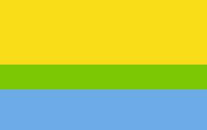 Динамічний сонячно-блакитний прапор на основі Золотого Перетину (62% + 38%)