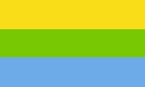 Динамічний сонячно-блакитний прапор з трьома рівними смугами
