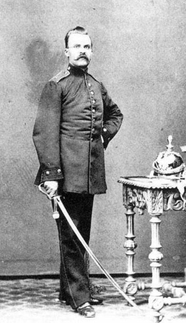 Friedrich Nietzsche (Фрідріх Ніцше) while an artilleryman in the Prussian Army, circa 1868.