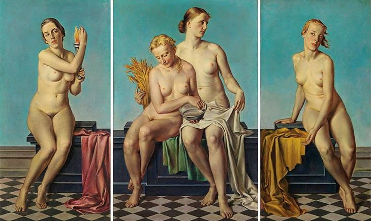 Картина «Чотири елементи: вогонь, вода і земля, повітря» Адольфа Циглера в Мюнхені, вперше виставлена в Домі німецького мистецтва в 1937 році; високо шанована Адольфом Гітлером.