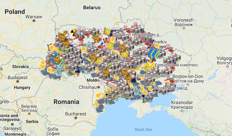 Карта підприємств України, що були відкриті з початку 2015 року